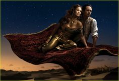 Jennifer Lopez and Marc Anthony as Princess Jasmine and Aladdin - Disney Dream Portraits by Annie Leibovitz.