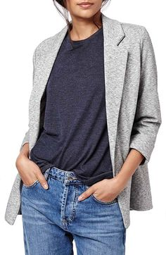 Free shipping and returns on Topshop Marl Boyfriend Blazer (Petite) at Nordstrom.com. An open front and rolled cuffs add to the laid-back vibes of a soft, marled cotton-blend blazer polished by slender lapels.