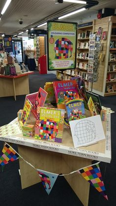 #ElmerDay display at Blackwell's Liverpool - you can enter a colouring competition at their store!