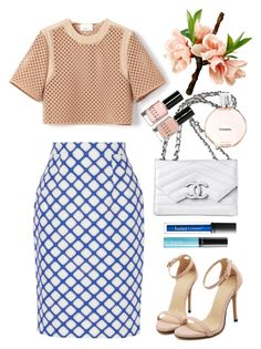 """Jonathan Saunders printed textured pencil skirt"" by thestyleartisan ❤ liked on Polyvore"