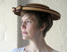 Wide brim straw hat // 50s straw bow hat by BlueFennel on Etsy, $58.00