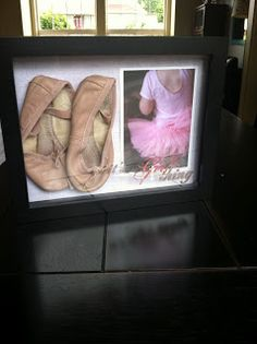 Don't throw away the out-grown ballet shoes!  Frame them!