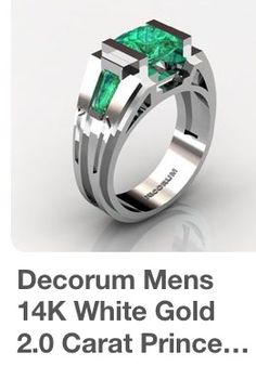 14k white gold with 2 ct top grade Columbian emerald princess cut stone The premium bespoke maker stamps its name proudly next to hallmarks to prove its pedigree of individualism !! 14 k is ideal as hard wearing yet doesn't tarnish as UK 9k white gold does, that requires rhodium plating to restore its luster if tarnishes ‼️