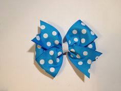 Blue polka dot hair bow by BrownEyedBowtique on Etsy, $4.00