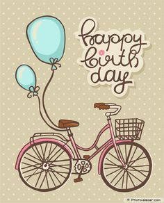 Bicycle with balloons, Romantic Birthday card