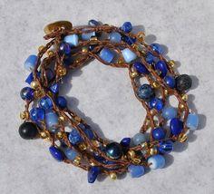 Lapis Gold 5X Beaded Crochet Wrap Bracelet, Navy Blue Coastal Bracelet, Beach Boho Bracelet, Nautical Jewelry