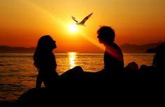 apus de soare, vara, mare, pescarusul