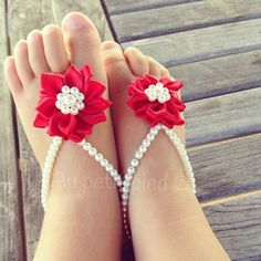 Red Baby barefoot sandalstoddler barefoot by Aupetitpied on Etsy