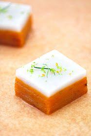 Talam Ubi (Steamed Sweet Potato Cake With Coconut Milk, Lemongrass and Kaffir Lime Leaves) use agave