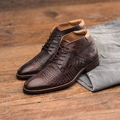 The Adriano Croco Cafe | Handmade dressy mid top men's shoe with lots of unique…