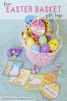 Free Easter Basket Gift Tag Printables for the kids baskets. Just print and add their names.