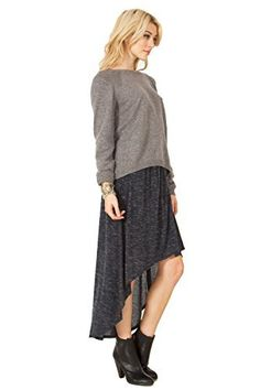 The Sugarlips Dip Low Skirt is a charcoal grey knit high low skirt. Wrap detail on front. Price : $58.00 #MyLuluCloset #Sugarlips #NewArrivals