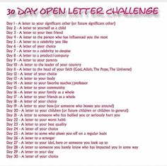 30 Day Open Letter Challenge for those who like to write like me Love this idea!