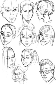 Some head studies ref'd from photos as I scrolled through tumblr
