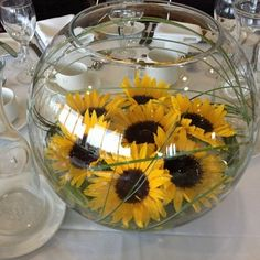 sunflowers in a fish bowl arrangement - Google Search