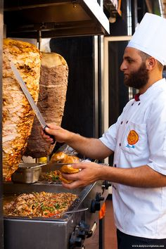 Shawarma Sandwiches in Egypt. For $1 you can have a juicy slice of skewered meat like chicken or lamb placed on a bun...Egyptian fast food.