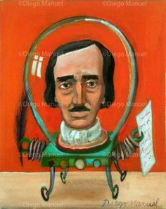 """Edgard Allan Poe robot"" , acrylic on canvas, 20 x 25 cm. year 2014"