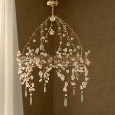 A Cherry Blossom Sunshower Chandelier by BellStudios on Etsy Wire Crafts, Bead Crafts, Diy And Crafts, Diy Chandelier, Chandeliers, Idee Diy, Wire Art, Lampshades, Suncatchers