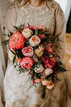 Crescent Moons + Cats: Romantic Candlelit Wedding Pink coral and cream peony wedding cascade bouquet Diy Wedding Flowers, Glitter Wedding, Whimsical Wedding, Bridal Flowers, Floral Wedding, Wedding Bouquets, Flower Bouquets, Wedding Greenery, Wedding Dresses