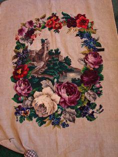 Superb antique Berlin wool,bead,raised plush work tapestry,roses,castle,water