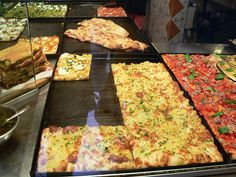 Pizza from a little shop in the Trastevere section of Rome, Italy.