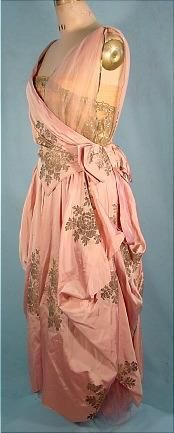 c. 1916 Pink Silk L.P. HOLLANDER  CO. New York Evening Gown with Gold Metallic Printed Design