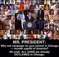 """OMG!!! I am so tired of hearing this """"but Chicago has banned guns"""" BS!!!! They banned semi auto rifles!!!!!! People can still kill people with OTHER guns. They restricted semi auto guns to lessen the violence THAT WAS ALREADY THERE!!!!"""