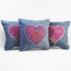 Trio of Embroidered Heart Pillows. I started with recycled denim which I harvested from old pants and washed yielding the most wonderful fabric for embroidery! WindyRiver: Trio of Embroidered Pillows Inspired by Tattoo Art (on denim) another use for old j Jean Crafts, Denim Crafts, Sewing Crafts, Sewing Projects, Denim Ideas, Heart Pillow, Sewing Pillows, Paisley, Embroidery