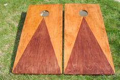 Two tone stain custom cornhole boards.