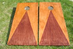 Two tone stain custom cornhole boards.