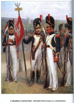 Army of the Grand Duchy or Warsaw (Poland) of the Napoleonic Wars 5e régiment d'infanterie: officier porte-aigle et grenadiers