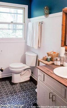 Tile Stencils for Walls, Floors, and DIY Kitchen Decor – Royal Design Studio Stencils Budget Bathroom, Bathroom Renovations, Small Bathroom, Beachy Bathroom Ideas, Bathroom Showers, House Remodeling, Bathroom Inspiration, Remodeling Ideas, Bathroom Interior