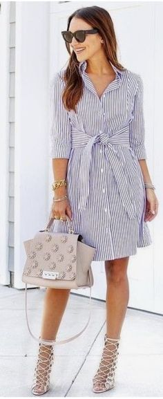 60 Trendy And Lovely Fashion Outfits To Upgrade Your Summer Wardrobe Stripe Shirt Dress Source Mode Outfits, Dress Outfits, Casual Dresses, Casual Outfits, Fashion Outfits, Casual Shirt, Work Dresses, Dress Fashion, Fashion Clothes