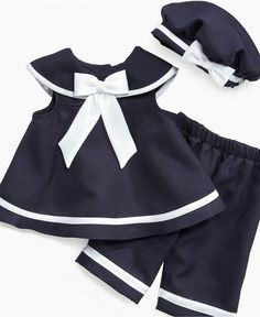 Rare Editions Baby Set, Baby Girl's 3-Piece Nautical Sailor Set - Kids Baby Girl (0-24 months) - Macy's