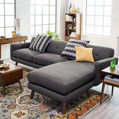 Belham Living Carter 2 Piece Sectional With 2 Accent Pillows   EMER1036