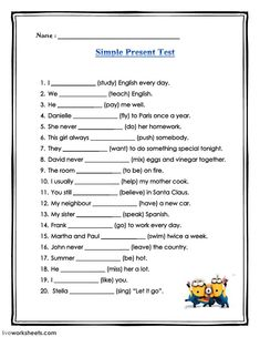 Simple present test Language: English Level/group: grade 6 School subject: English as a Second Language (ESL) Main content: Present Simple Other contents: English Grammar For Kids, Teaching English Grammar, English Worksheets For Kids, English Study, English Lessons, English Vocabulary, Homeschool Worksheets, Money Worksheets, Budgeting Worksheets