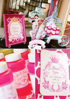 Colorful Disney Princess Party Ideas: favors display