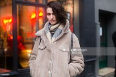 Model Manon Leloup exits the Jean Paul Gaultier show in hair by Odile Gilbert on Day 4 of Paris Haute Couture Fashion Week Spring/Summer 2015 on January 28, 2015 in Paris, France.