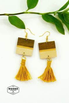 The wooden square earrings are making by hand. Depending on your choice they can have a colored stripe on wood earrings. Υou can choose between 12 colors. Sister Gifts, Best Friend Gifts, Gifts For Friends, Gifts For Her, Wood Earrings, Tassel Earrings, Fall Jewelry, Boho Jewelry, Wall Art Crafts
