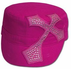 EH4841DC - Unisex 100% Cotton Silver Studded Cross Accent Army Military Cadet Hat / Cap - Hot pink/One Size Sakkas. $15.99