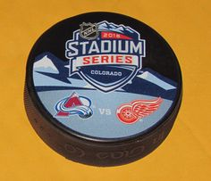 2016 STADIUM SERIES PUCK Colorado Avalanche vs Detroit Red Wings DUELING LOGO #InGlasCo #DetroitRedWings