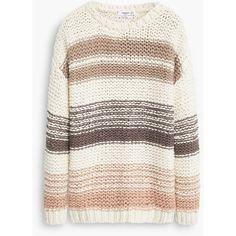 MANGO Striped Wool-Blend Sweater ($80) ❤ liked on Polyvore featuring tops, sweaters, mango, stripe sweater, cableknit sweater, cable knit sweater, chunky cable knit sweater and long sleeve cable knit sweater