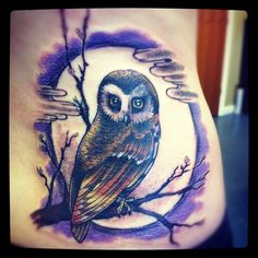 #Owl #moon #tattoo