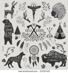 The First Nation - Set of design elements and clip art themed around the Native Americans, their spirituality and crafts, including headdress, dream catcher, tomahawks and animal spirits