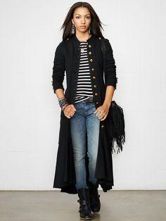 Long Cotton Officer's Coat - Outerwear  Women - RalphLauren.com
