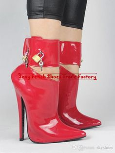 2015 new arrival women's boots extreme high heel 18CM heels fashion show ankle boots brand shoes sex red ankle boots with padlock stiletto heels