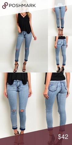 🆕 Light Wash Destroyed Knees Skinny Ankle Jeans New with tags. Light wash, raw hem, busted knee, ankle grazer skinny jeans.                                           🌸88% cotton, 9% polyester, 3% spandex.                    🌺PRICE IS FIRM UNLESS BUNDLED.                               ❌SORRY, NO TRADES. Boutique Jeans Ankle & Cropped