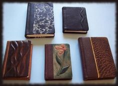 handmade small books of genuine leather