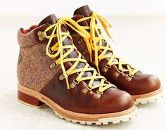Boot with yellow shoelace