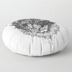 Floral lion (b&w) Floor Pillow by soltib Big Floor Pillows, Big Pillows, Cushions, Tack, Bean Bag Chair, Crisp, Lion, Plush